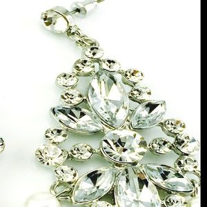 ROMANTIC REVIVAL Jewelry - SILVER PEARL CHANDELIER EARRINGS RHINESTONE HUGE